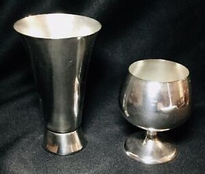 Two Small Sterling Silver Shot Glasses Cordials 1542