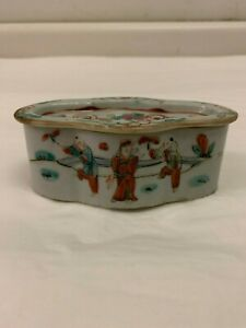 Antique Chinese Porcelain Famille Rose Covered Incense Box 19th Century