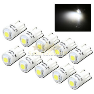 New 10pc 168 194 2821 W5w T10 Led Light Bulbs Replacment 1x 5050 Smd Chips White