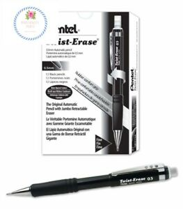 Pentel Twist erase Iii Mechanical Pencil 0 5mm Black Barrel 12 Pack qe515a