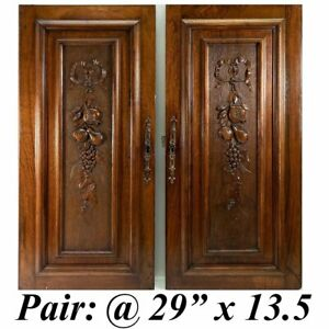 Antique Hc French Walnut Cabinet Door Pair 2 Fruit Carved 29 X 13 5