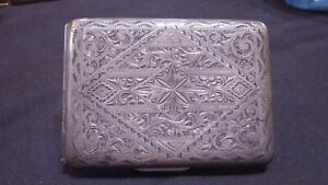 Antique Japanese 950 Sterling Silver Acid Etched Double Sided Cigarette Case