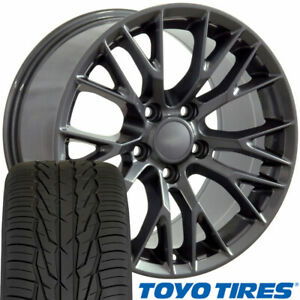 17x9 5 Wheels Tires Fit Camaro Corvette C7 Z06 Style Gunmetal Toyo X 5734 W1x