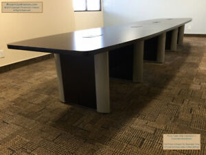 12 Foot Boat Shaped Conference Table With Elliptical Legs In Espresso Or Walnut
