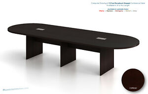 12 Foot Modern Conference Table With Grommet Holes Gray Espresso Walnut And More