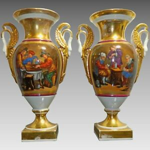 Antique Pair Of Hand Painted Royal Vienna Style Porcelain Gilded Vases Germany