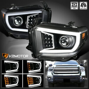 For 2014 2018 Toyota Tundra Led Drl sequential Signal Projector Headlights Black