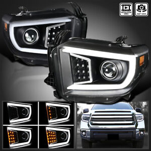 For 2014 2020 Toyota Tundra Led Drl sequential Signal Projector Headlights Black