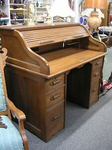 Vintage Oak Roll Top Desk With 6 Drawers In Average Condition Sold As Is