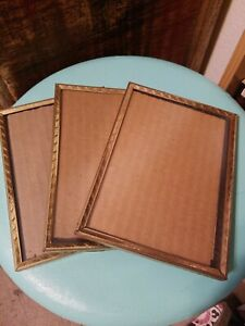 3 Matching Vintage Gold Metal Embossed 5x7 Picture Frame Lot