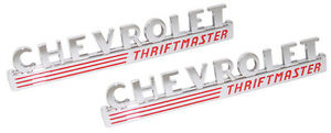 1947 1948 1949 Chevrolet Truck Thriftmaster Hood Side Emblem Pair W Red Details