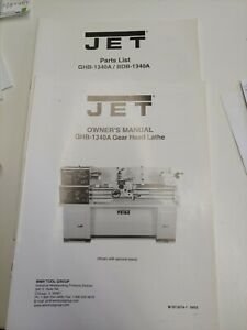 13 x40 Metal Lathe Instruction Parts Manual Jet Ghb 1340a