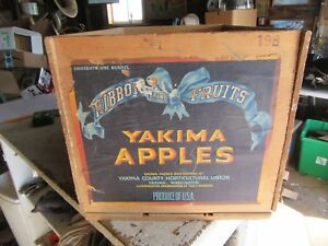 Vintage Wood Crate Ribbon Brand Yakima Washington Apples 12 X 19 X 11 Lot 19 8 7