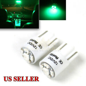 New 2pc 168 194 2821 W5w T10 Led Light Bulbs Replacment 5x 1210 Smd Chips Green