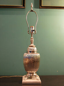 Silver Plate Melon Shaped Urn Wired As A Lamp On White Marble Base Circa 1925