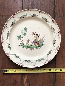 Antique 18th Century English Pearlware Creamware Plate Dog Bird And Man