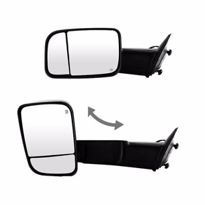 For 98 02 Dodge Ram Pickup Tow Power Heated Folding Mirrors Set Tow Black Pair