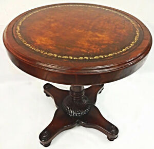 Art Deco Mahogany Circular End Table Lamp End Side Center Coffee Antique Vintage