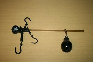 Cast Iron Hanging Balance Scale With Pear Shaped Weight