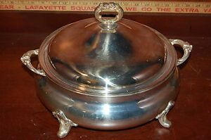 Vintage Poole Silver Plate Covered Banquet Party Server Bowl 818 Lid Handles