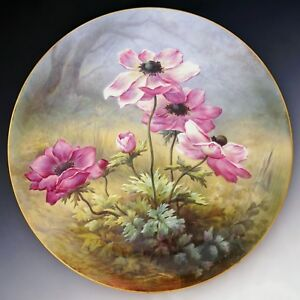 French Limoges Porcelain Hand Painted Large 18 Wall Plaque Charger Pink Poppies
