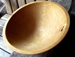 Vintage Farmhouse Wood Dough Carved Out Of Round Primitive Great Alaskan Bowl