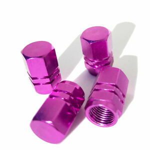 4x Purple Color Aluminum Tire Rim Valve Wheel Dust Cover Caps
