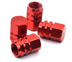 4x Red Color Aluminum Tire Rim Valve Wheel Dust Cover Caps