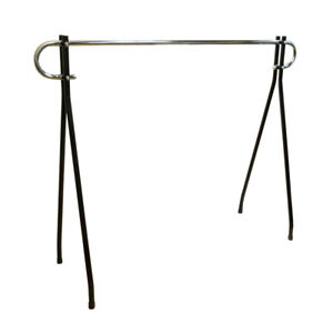 64 h Black Clothing Rack Garment Display Single Chrome Bar Retail Fixture