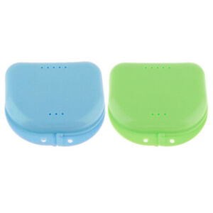 2 Mouth Guard Case Orthodontic Dental Retainer Box Denture Storage Container