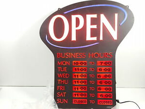 Newon Led Lighted Business open Sign Electronic Business Hours Sign Red black
