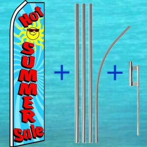 Hot Summer Sale Flutter Flag Pole Mount Kit Tall Curved Feather Banner Ad Sign