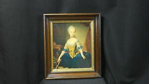 Reduced Again Antique Heavy Walnut Frame With Gilt Liner Giclee Print Of Woman