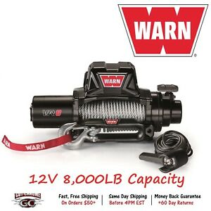 96800 Warn Vr8 Vehicle Mounted Recovery Winch 12v 8000lb Pull With 94 Wire Rope