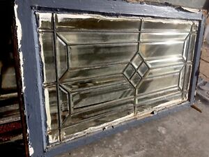 Great Old All Heavy Beveled Diamond Architectural Leaded Glass Window Transom
