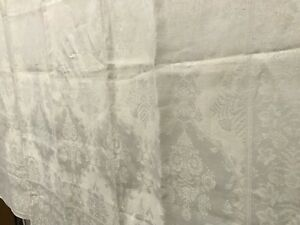 Linen Antique Ivory Jacquard Floral Damask Tablecloth W 6 Napkins L Monogram