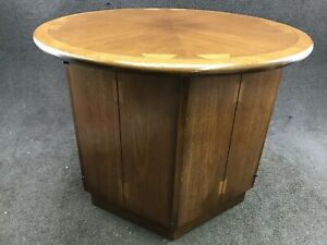 Mid Century Danish Modern Lane Acclaim Walnut Drum End Table By Andre Bus
