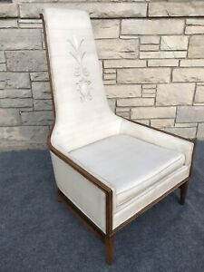 Mid Century Modern Adrian Pearsall Style High Back Arm Chair In White