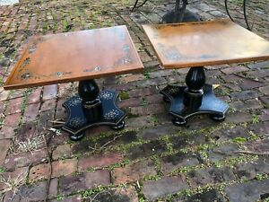 Match Pair Of Ethan Allen Side Tables With Hitchcock Chair Style Stenciling
