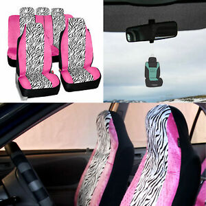 Universal Fit Highback Full Set Seat Covers Pink White Zebra For Cars W Gift