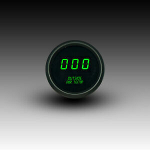 Universal Digital Outside Air Temp Gauge Green Led Black Bezel Lifetime Warranty