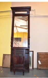 Antique Mahogany Victorian Mirror Hall Tree Foyer Stand Vintage Furniture