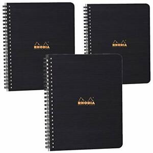 Rhodiactive Meeting Paper Book 90g Lined 80 Sheets 6 1 2 X 1 4 Black Cover Of