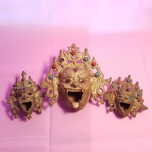 Set Of 3 Antique Tibetan Bronze Mahakala Heads Incense Burners 1 Large 2 Small