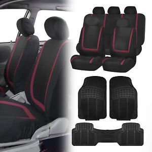 Black Yellow Car Seat Covers With Black Rubber Floor Mats For Auto Car Suv