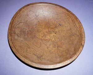 Antique Chopping Bowl With Flemish Carvings Of Leafs Grapes Vines Dated 1907