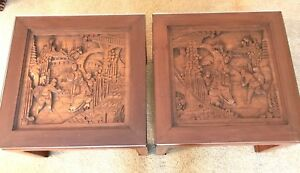 Vintage Carved Wood Asian Oriental End Table Pair With Glass Tops