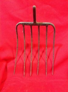 Antique Hand Forged 6 Tine Pitch Fork Hay Straw