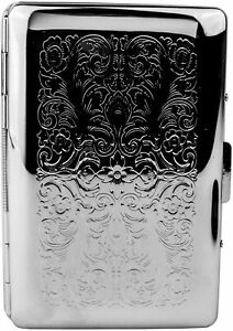 Slim Business credit Card Holder With Separation Tabs In Silver Vintage Victo