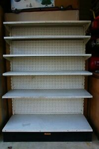 Vintage Gondola Pegboard Slat Wall L shaped Store Fixture By Modern Displaycraft